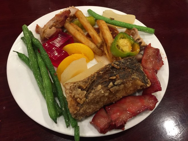 Beans, fried fish, jelly, french fries, green pepper