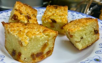 picture of cassava cake with raisins