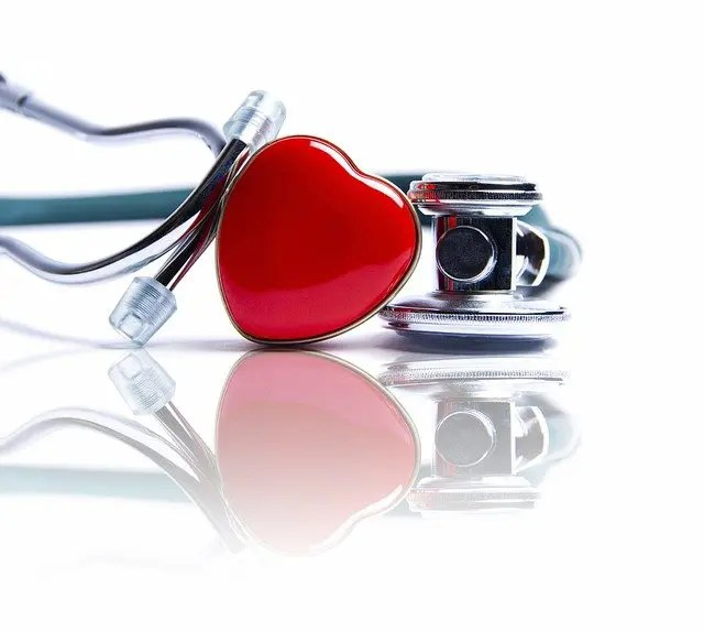 Heart rock leaning on stethoscope to indicate heart health