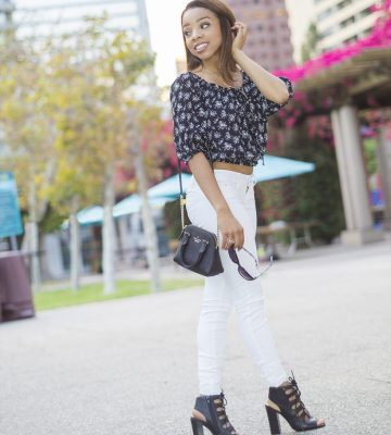 BLACK AND WHITE FLORAL TOP WITH WHITE PANTS 1