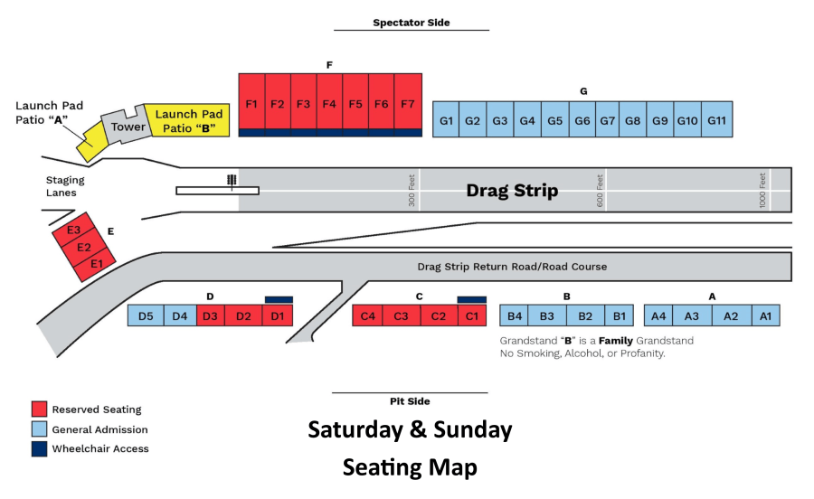 grandstand seating on weekends