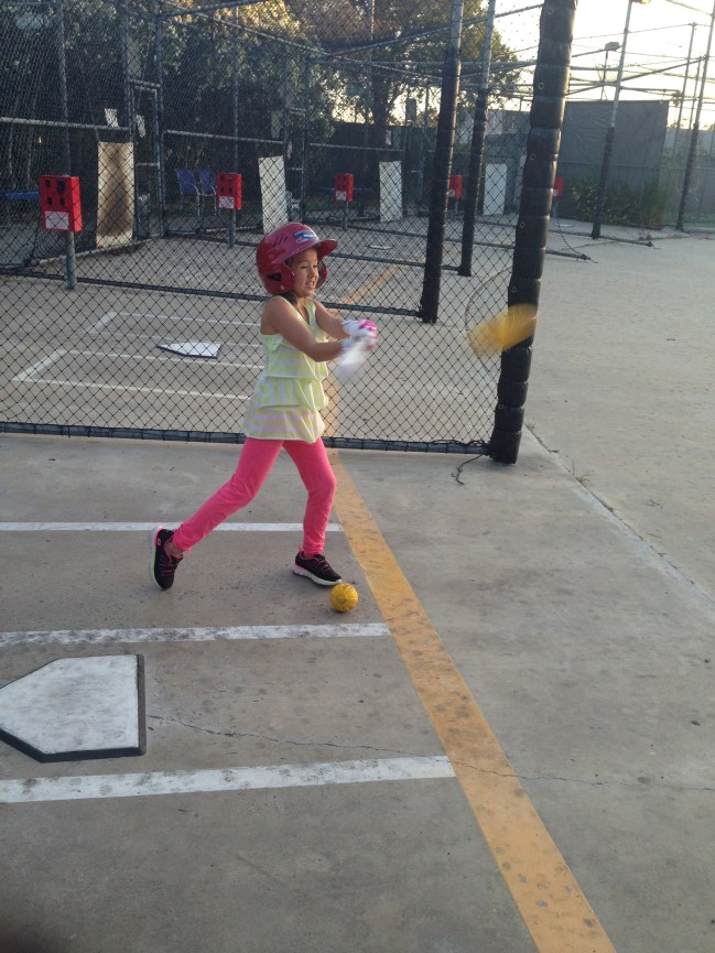 Action at the batting cage