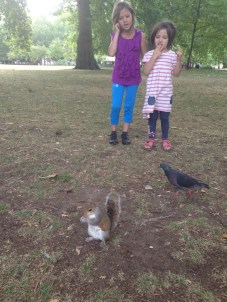 Sophie & Alice meet a friendly squirrel