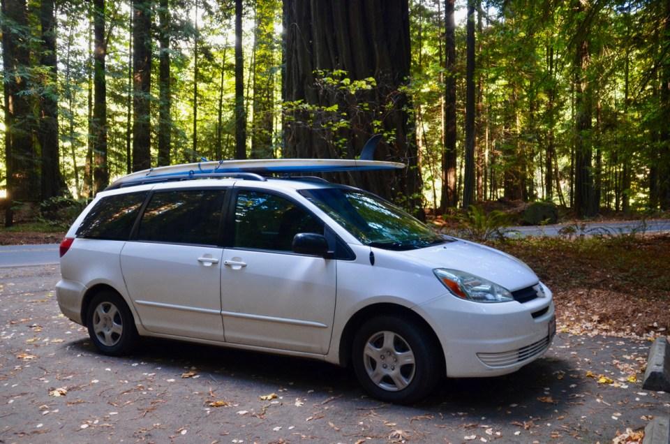 minivan camping and SUP
