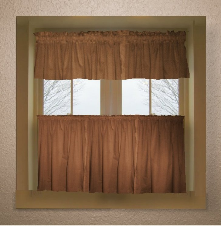 Curtains Solid Copper Brown Colored Kitchen Curtain Only Valance