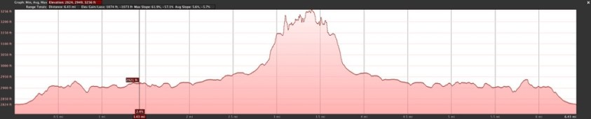 This is the elevation plot of our Lighthouse Trail hike.