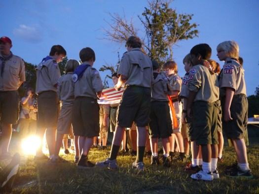 Flag retirement ceremony.