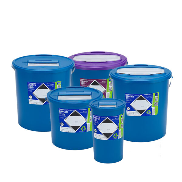Recycled container for pharmaceutical waste, SHARPSGUARD, 100% recycled plastic for pharma waste, recycled plastic for pharma waste
