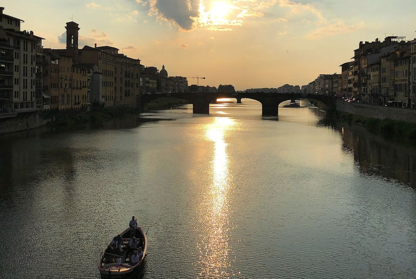 View from Ponte Vecchio down the river Arno, Florence, Tuscany