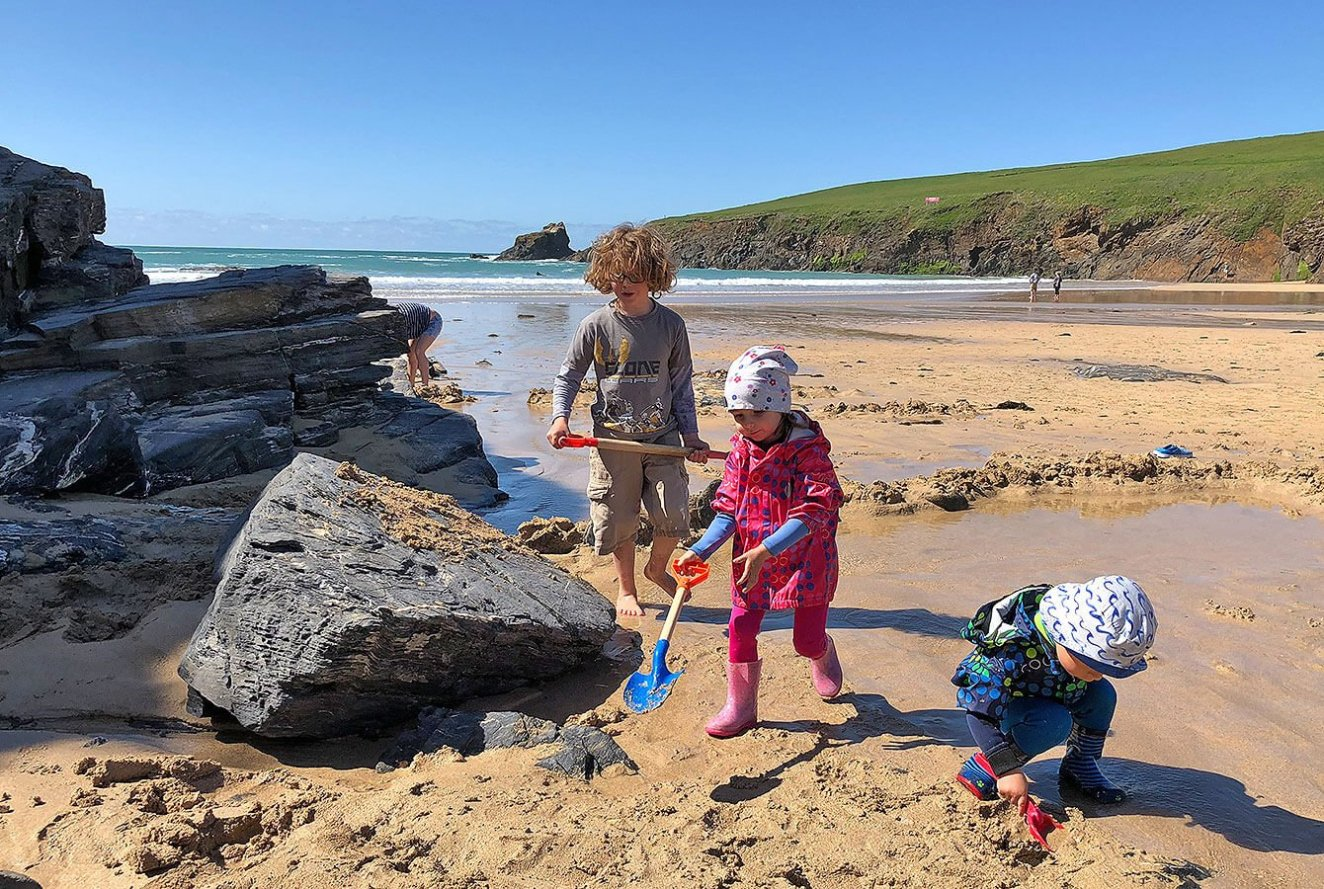 Trevone Beach, Kids playing during Low tide, Cornwall, England