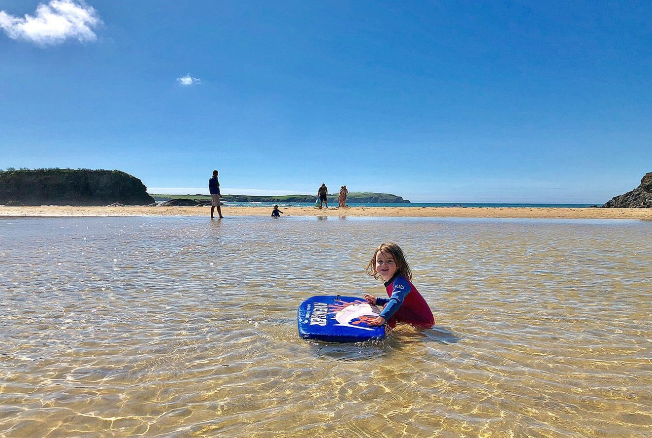 Trevone Beach, A low tide paddling pool, Cornwall, England