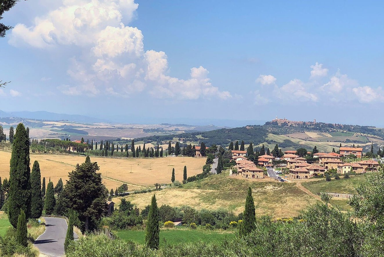 View from Monticchiello across the valley to Pienza in the Val d'Orcia Tuscany, Italy