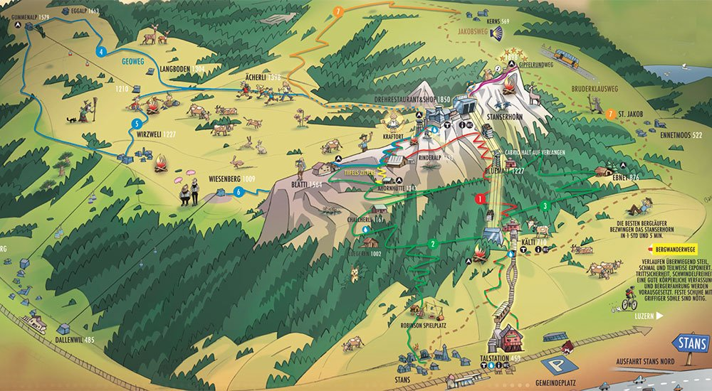 hiking map from Stanserhone