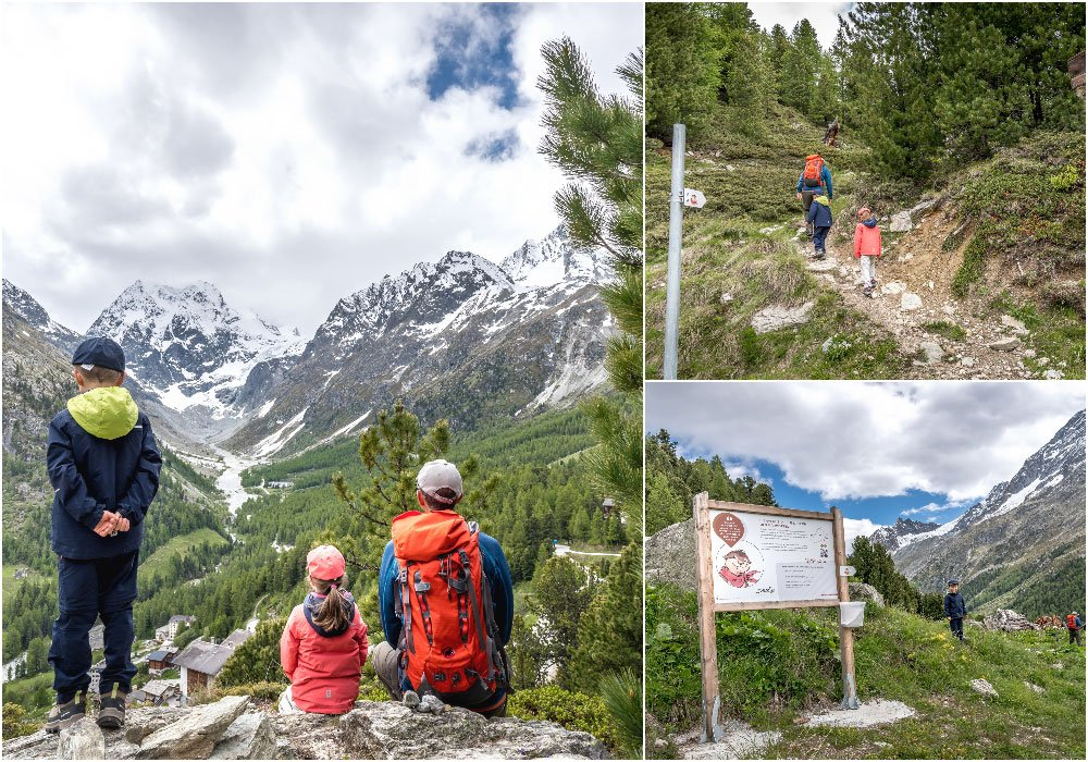 a family sitting on a view point on the Marmot trail in Arolla