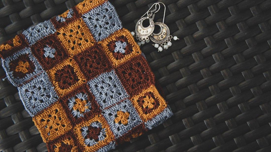 Crochet granny square pouch