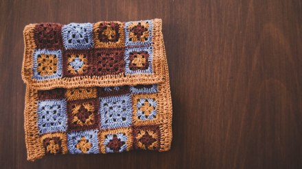 Crochet granny square envelope