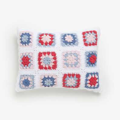 KIDS MULTICOLOURED CROCHET CUSHION COVER