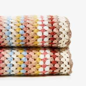 MULTICOLOURED STRIPES CROCHET BLANKET