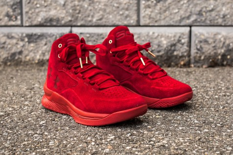 Under Armour Curry 1 Mid Red-Red Suede angle
