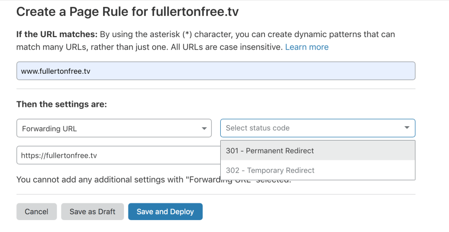 Cloudflare page rule page