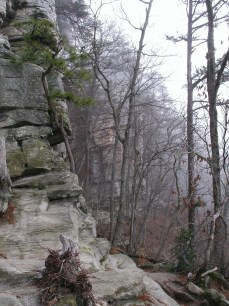 trail runs along these cliff faces