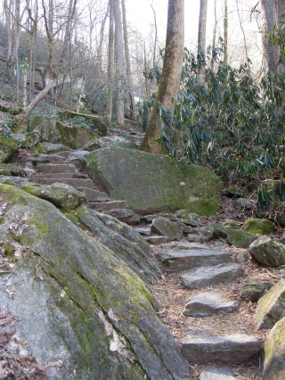 Rock stairs at waterfall - also strenous