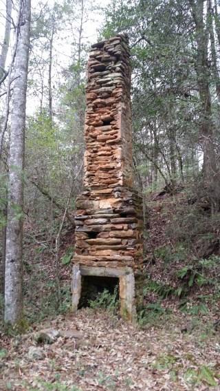 Stacked stone chimney
