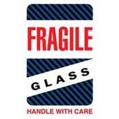 #DL1570  4×6″  Fragile Glass Handle with Care (Black/Blue Stripes) Label $24.29/piece