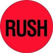 "#DL1740  2″  Circle ""RUSH"" Flourescent Red Label $13.91/piece"