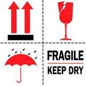 #DL4420  4×4″  Fragile Keep Dry (Arrows/Broken Glass/Umbrella) Label $13.91/piece