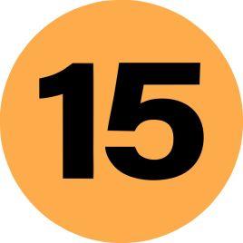 2″ Inventory Numbered Circles #15 Fluorescent Orange $10.04/piece
