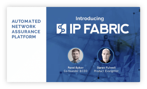 IP Fabric's intro slide with speaker photos.