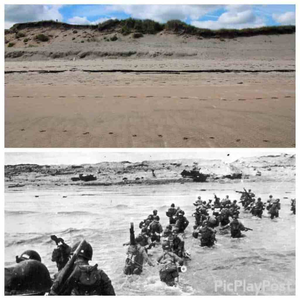 Comparison photo from 1944 and 2018 at Utah Beach
