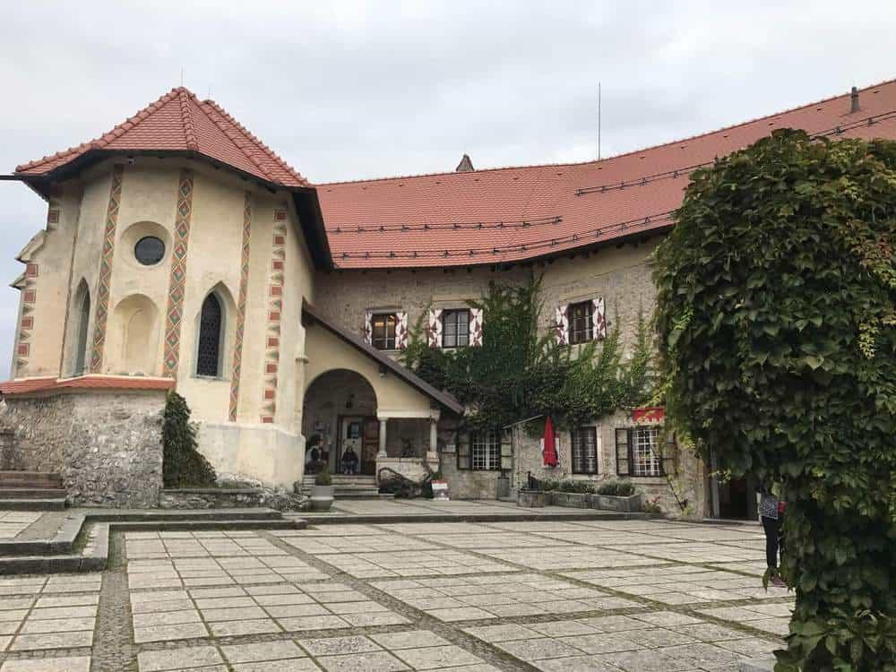 Inner courtyard in Lake Bled Castle, Slovenia