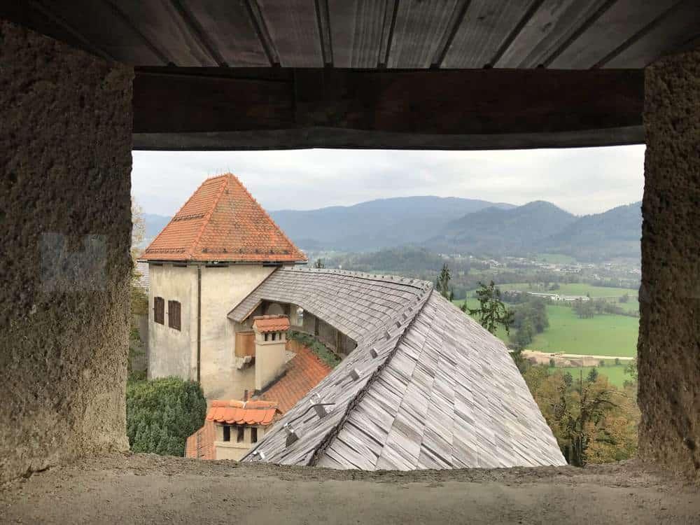 Views along the castle walls. Lake Bled Castle, Slovenia