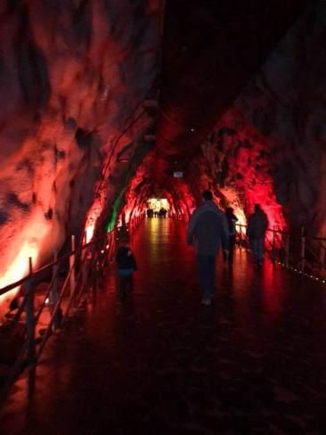 Dark hallway heading into Santa Park
