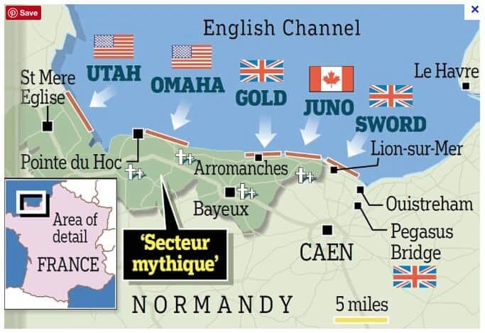 Map of the d-day landings in France