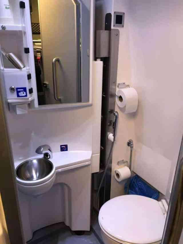Santa Claus Express Train Lapland, Finland Bathroom in private sleeping birth