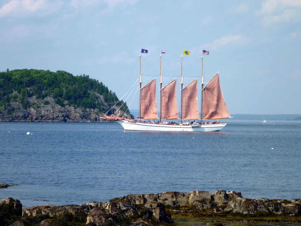 Sailing boats along the Bar Harbor, Maine Ocean Trail