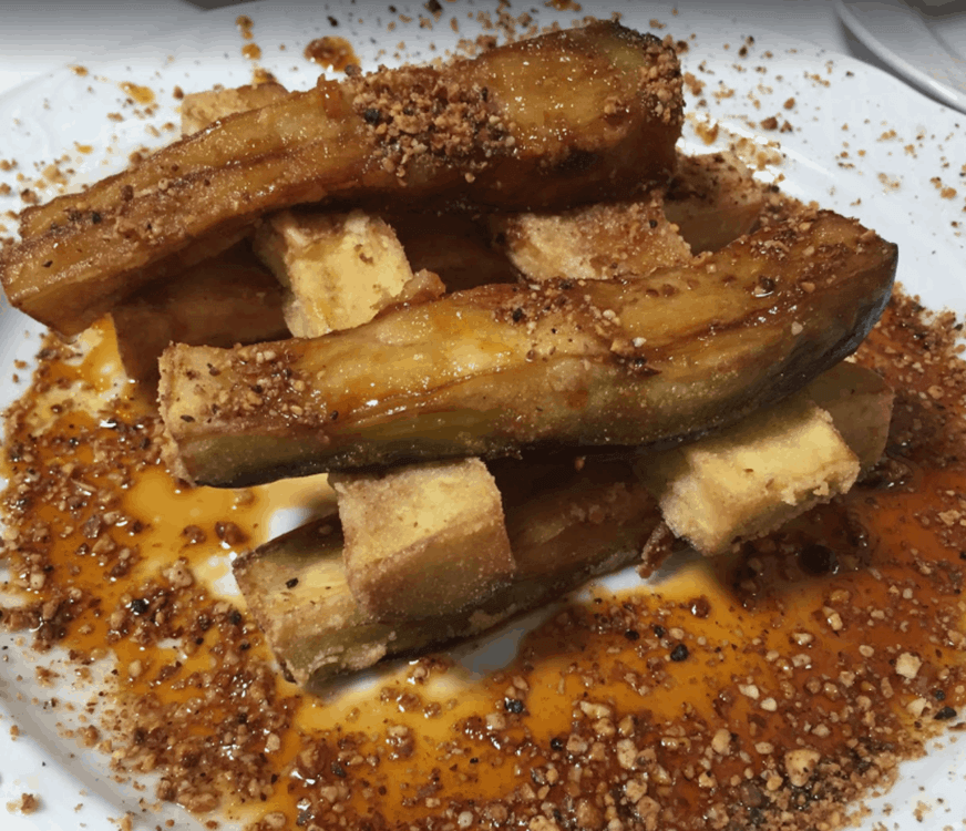 Restaurante La Hierbita Eggplant with honey and nut drizzle