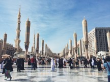 Exterior of Masjid Al-Nabawi: Unfortunately, we didn't get to see the canopies shelter open during our time there
