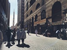 The 5 minutes walk to Masjidil Al-Nabawi from our hotel