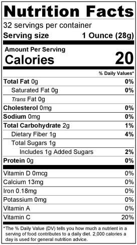 Nutrition Label Buddhas Hand Puree 32oz