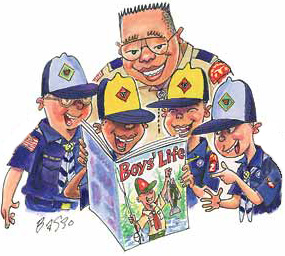 Cubmaster and Cubs looking at Boys' Life mag illustration