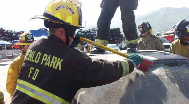 Exploring firefighters learning automobile rescue