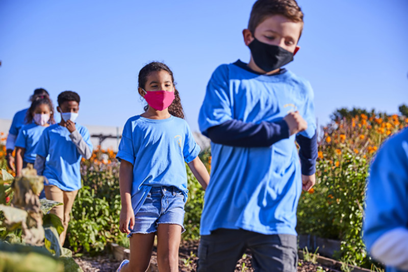 Boy and girl Cub Scouts working in a community garden wearing face coverings