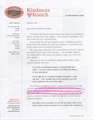 Kindness Ranch Newsletter