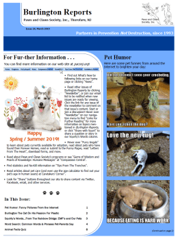 Burlington Reports Newsletter, March 2019 - Paws and Claws Society, Inc.