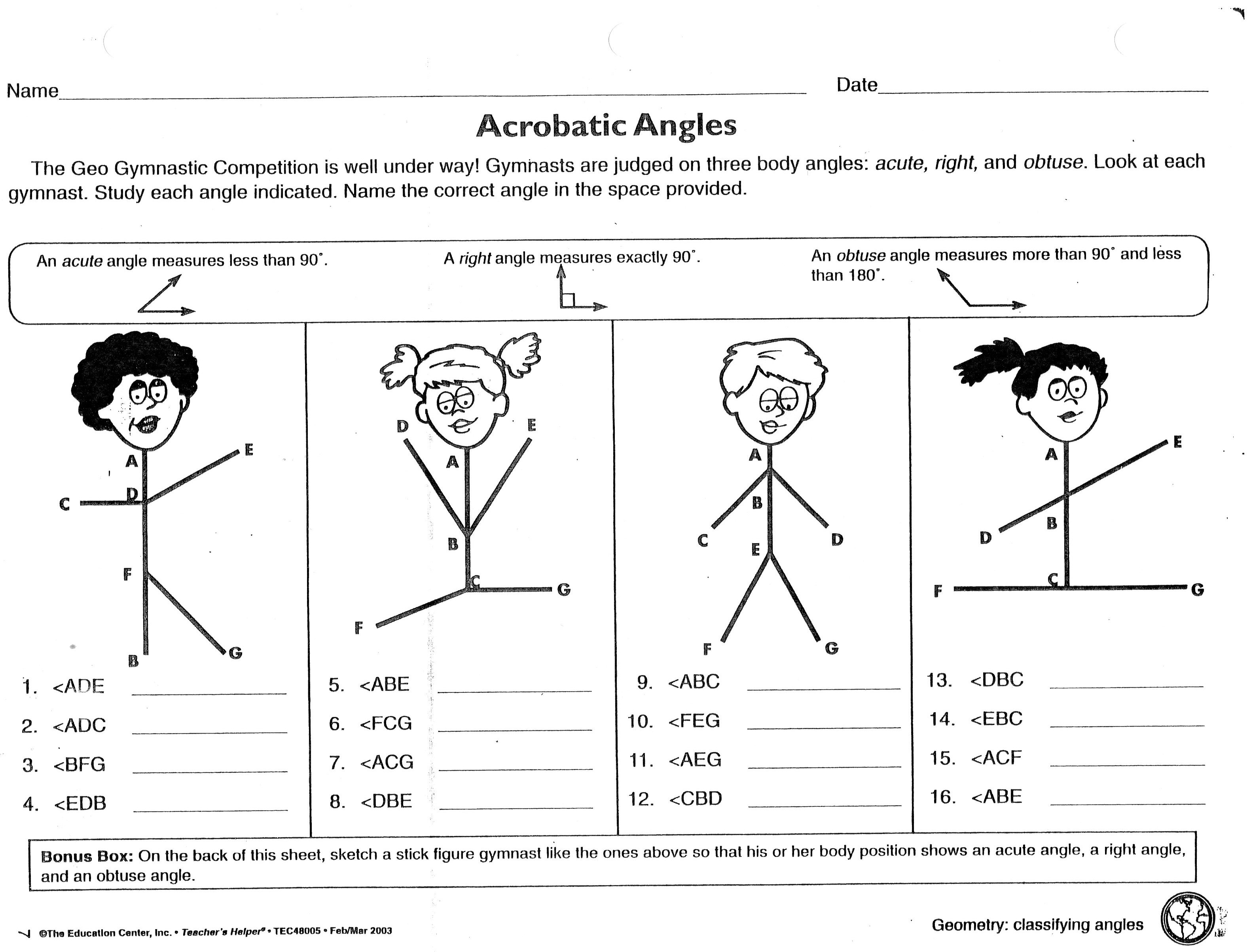Acrobatic Angles Worksheet Obtuse Acute Right Michael Jordan Was Cut From His High School