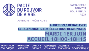 AUDITION / DÉBAT AVEC LES CANDIDATS AUX ÉLECTIONS RÉGIONALES – MARDI 1ER JUIN – 18H30